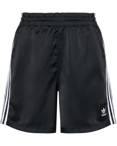 Satynowe czarne szorty Adidas