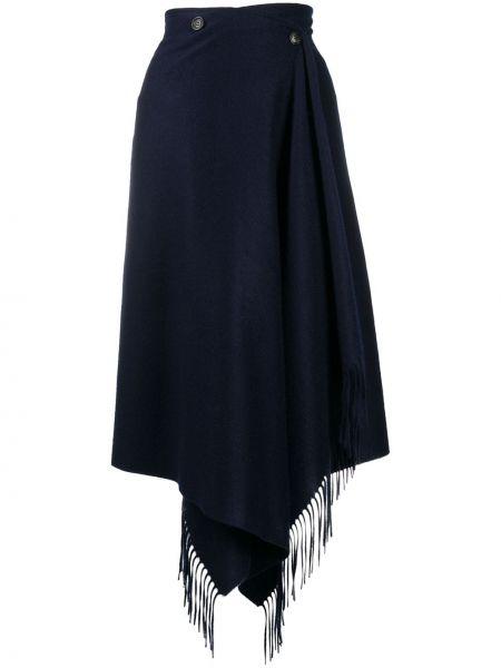 Кашемировая синяя асимметричная юбка Ballantyne