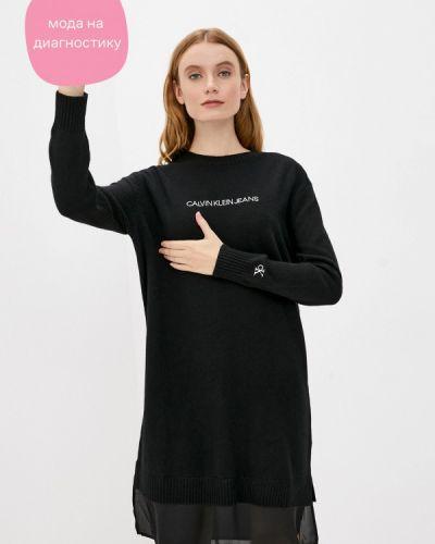 Трикотажное вязаное черное джинсовое платье Calvin Klein Jeans