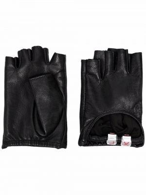 Czarne rękawiczki bez palców skorzane Karl Lagerfeld
