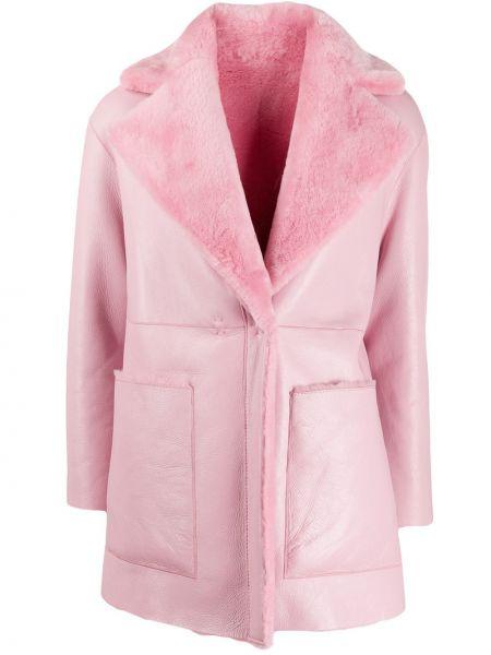 Пальто розовое с воротником Blancha