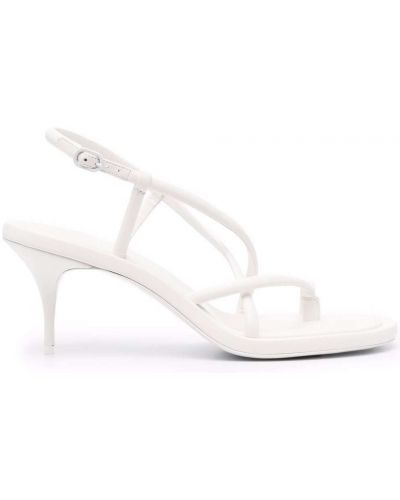 Sandały skórzane na obcasie - białe Alexander Mcqueen