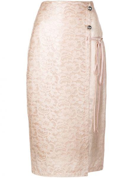 Плиссированная ажурная розовая юбка мини из вискозы Yigal Azrouel