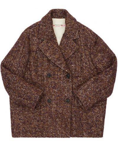 Бордовое пальто из альпаки Bonpoint