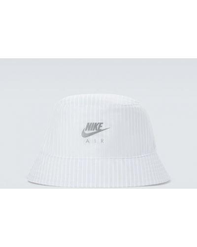 Biały kapelusz w paski srebrny Nike