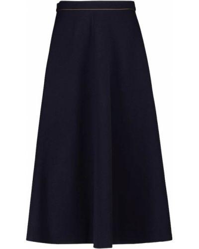 Синяя шерстяная юбка миди Max Mara
