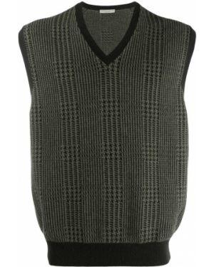 Зеленый кашемировый свитер свободного кроя в рубчик Holland & Holland