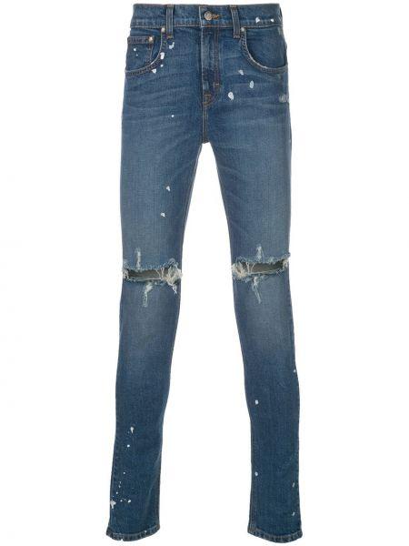 Niebieskie jeansy bawełniane z paskiem Domrebel