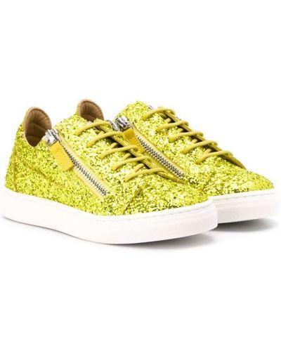 Желтые кожаные кроссовки на шнуровке Giuseppe Junior