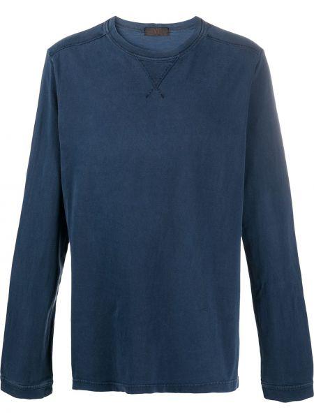 Прямая хлопковая синяя футболка с круглым вырезом Yohji Yamamoto Pre-owned