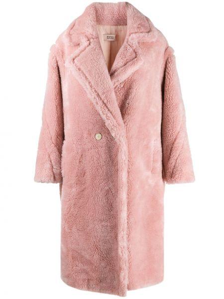 Шерстяное розовое длинное пальто Yves Salomon Meteo