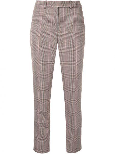 Шерстяные прямые коричневые брюки с потайной застежкой Paule Ka
