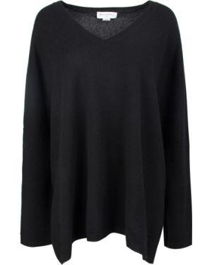 Кашемировый черный свитер свободного кроя с длинными рукавами Amanda Wakeley