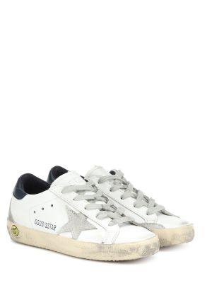 Кожаные кроссовки белый жёлтые Golden Goose Kids