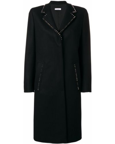 Однобортное шерстяное черное длинное пальто Versace Collection