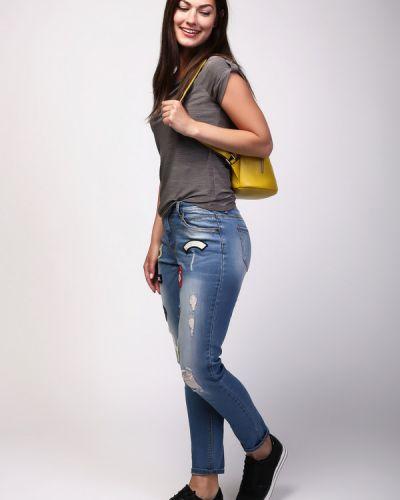 Джинсы с эффектом потертости с накладными карманами Just Valeri