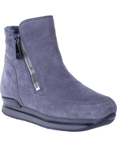 Кожаные ботинки - серые Hogan