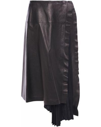 Кожаная юбка - черная Valentino