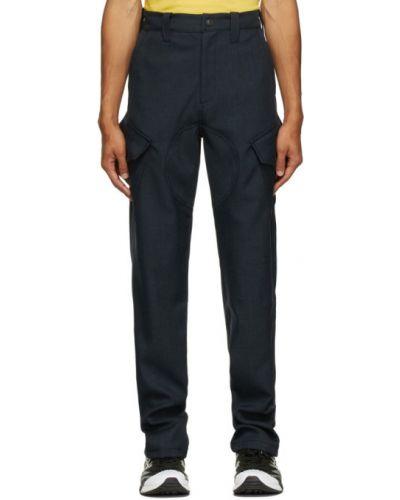 Серебряные брюки карго с поясом с вышивкой Affix