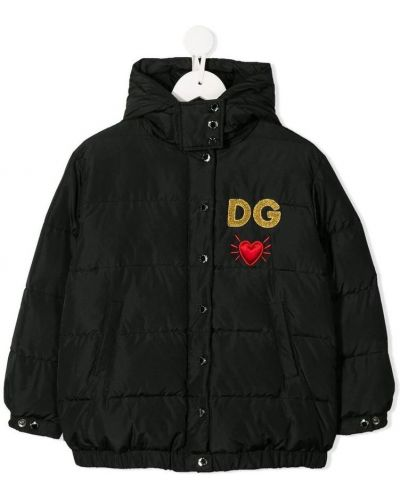 Czarna kurtka puchowa pikowana oversize Dolce And Gabbana