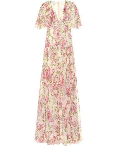 Платье макси розовое с цветочным принтом Giambattista Valli