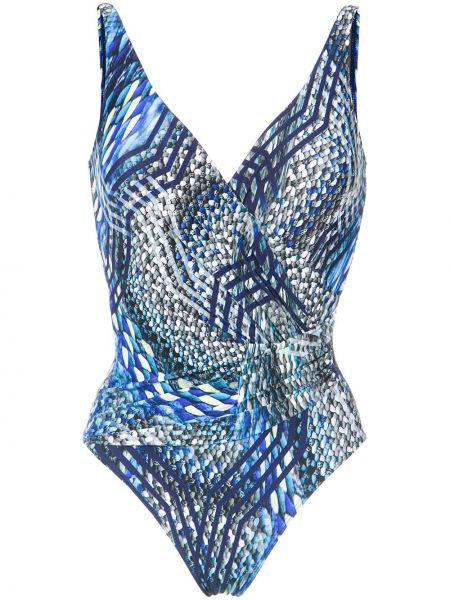 Драповый синий купальник с драпировкой с V-образным вырезом Lygia & Nanny