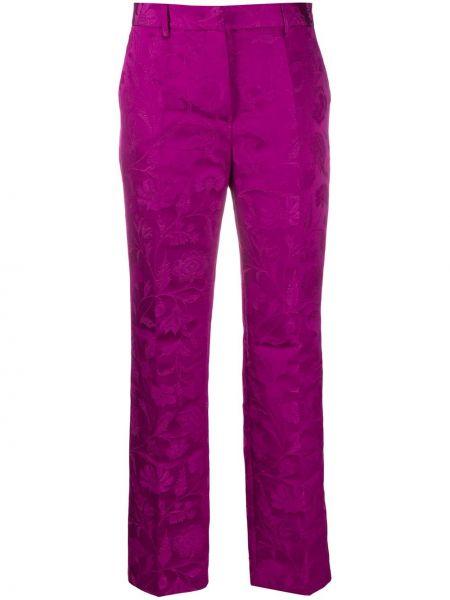 Прямые фиолетовые брюки с высокой посадкой из вискозы Alberta Ferretti