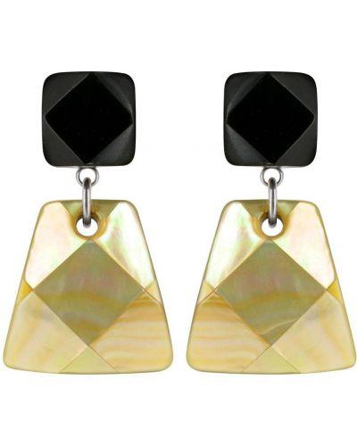 Золотые серьги черные французский Nature Bijoux