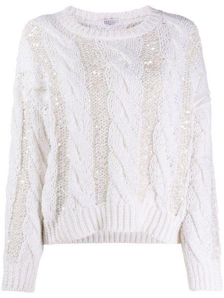 Белый шерстяной длинный свитер с вырезом Brunello Cucinelli