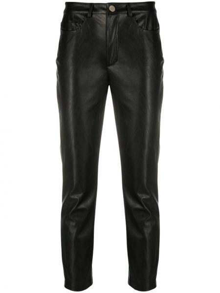 Кожаные черные укороченные брюки на молнии Pinko