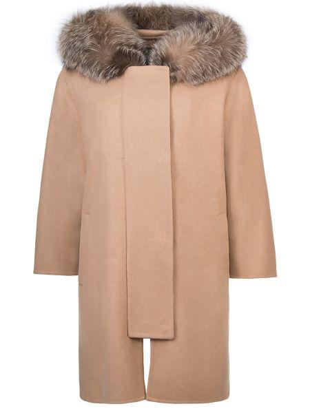 Пальто с капюшоном бежевое расклешенное Ermanno Scervino