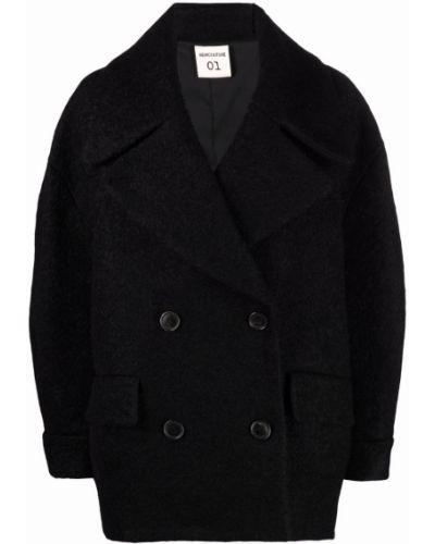 Черное пальто из альпаки Semicouture