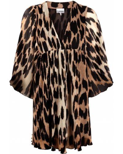 Платье мини леопардовое Ganni