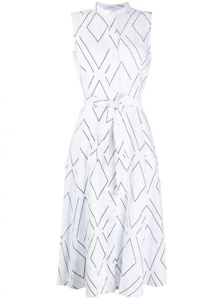 Прямое белое платье на пуговицах без рукавов Equipment