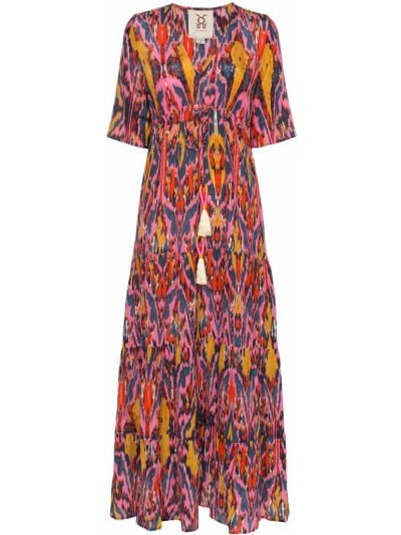 Sukienka mini krótki rękaw z jedwabiu z printem Figue