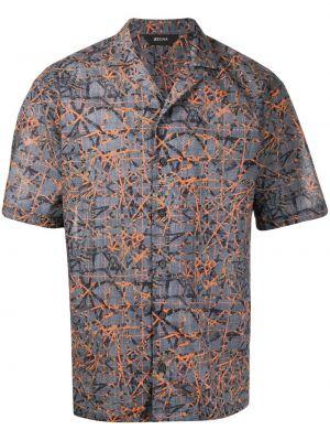 Koszula krótkie z krótkim rękawem z kołnierzem z nadrukiem Z Zegna