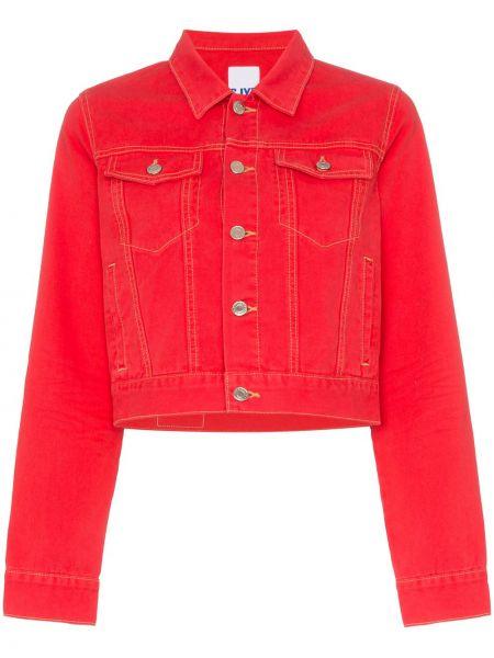 Приталенная красная джинсовая куртка с манжетами Sjyp
