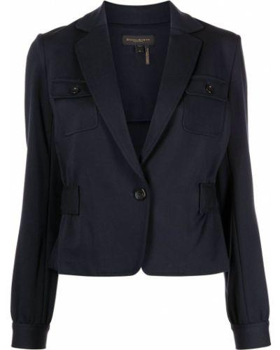 Однобортный синий удлиненный пиджак с поясом Donna Karan