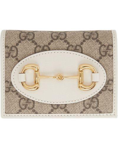 Brązowy skórzany portfel z łatami wytłoczony Gucci
