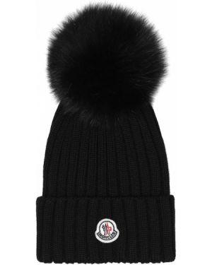 Шерстяная черная шапка с опушкой Moncler