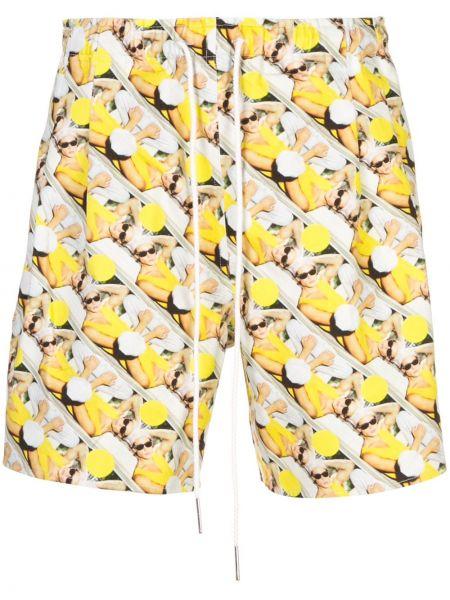 Żółte krótkie szorty bawełniane z printem Rochambeau