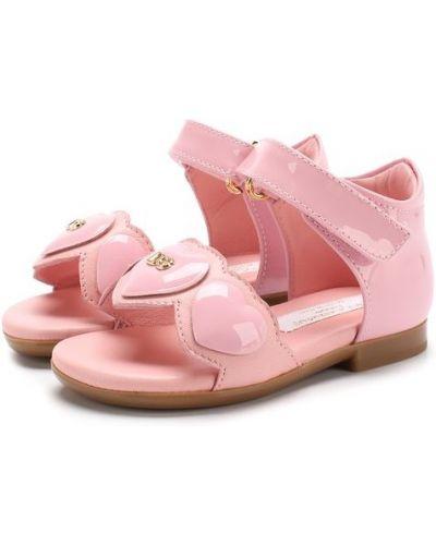 Кожаные босоножки розовый Dolce & Gabbana