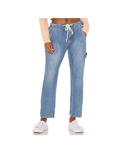 Синие джинсы бойфренды с поясом на пуговицах One Teaspoon