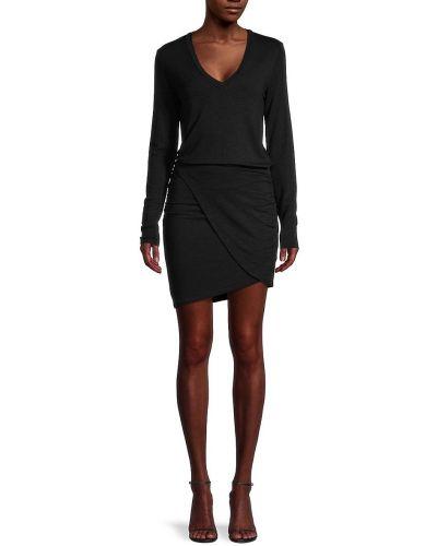Sukienka długa z długimi rękawami - czarna Monrow
