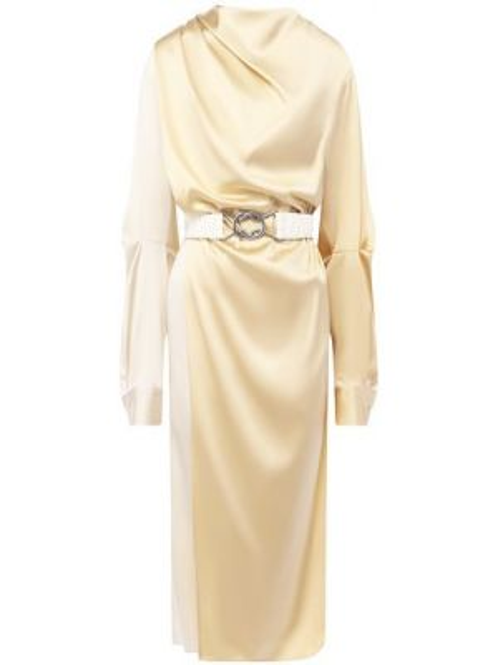 Платье с поясом шелковое кожаное Bottega Veneta