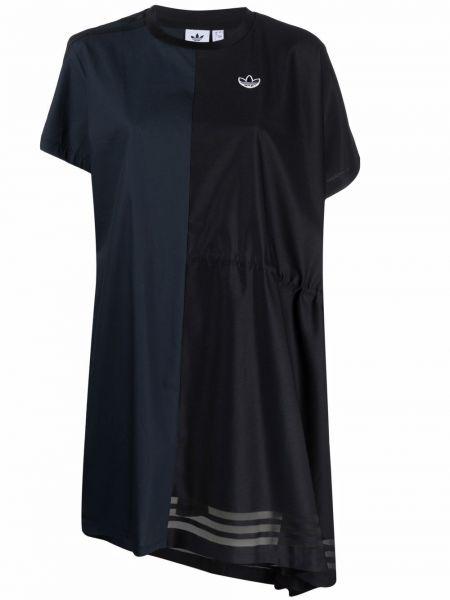 Хлопковое базовое черное платье-рубашка Adidas
