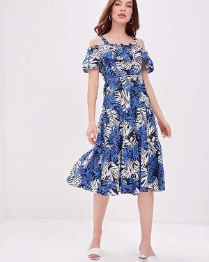 Платье с открытыми плечами синее Ostin