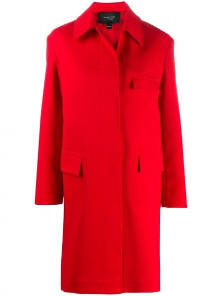 Красное однобортное пальто с воротником с карманами Giambattista Valli
