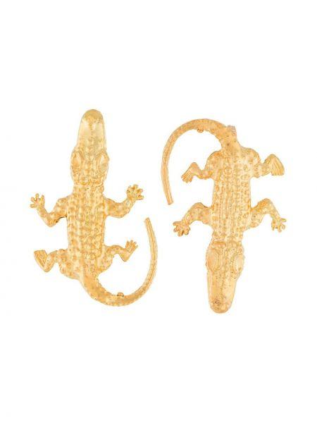 Золотистые желтые золотые серьги из крокодила Natia X Lako