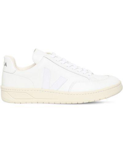 Кожаные белые кроссовки на шнуровке Veja